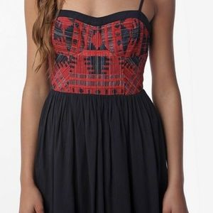 UO Staring at Stars Embroidered Bodice Mini Dress